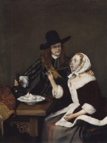 This photograph is issued to end-user media only. Single use only. Photographs must not be archived or sold on. Gerard ter Borch (1617-1681) A Gentleman pressing a Lady to drink, c.1658-1659 Royal Collection Trust / © Her Majesty Queen Elizabeth II 2016