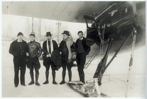 American pilot and Russian polar heroes in Fairbanks, Alaska, 1934