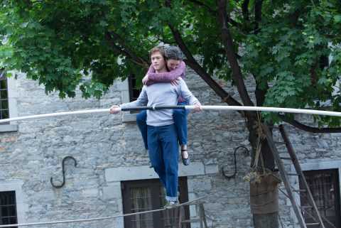 Philippe Petit (Joseph Gordon-Levitt) and Annie (Charolette Le Bon) in TriStar Pictures' THE WALK.