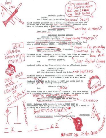 Deadpool, arriva una pagina della sceneggiatura del film scarabocchiata dall'irriverente supereroe