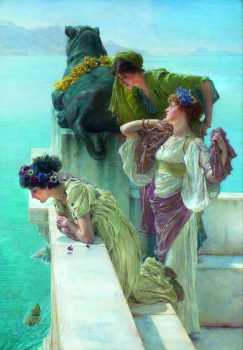 Sir Lawrence Alma-Tadema, Coign of Vantage, 1895, oil on canvas, 58.88 x 44.45 cm, Collection of Ann and Gordon Getty